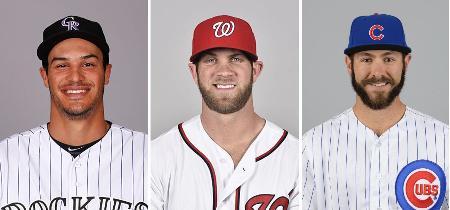 写真左からロッキーズのアレナド内野手(ゲッティ=共同)、ナショナルズのハーパー外野手(ゲッティ=共同)、カブスのアリエッタ投手(ゲッティ=共同)