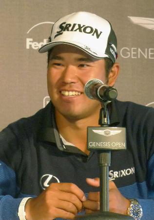 米男子ゴルフのジェネシス・オープンを前に、記者会見する松山英樹=パシフィックパリセーズ(共同)
