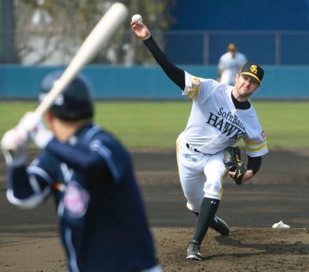 韓国プロ野球斗山との練習試合に登板したソフトバンクのバンデンハーク=宮崎
