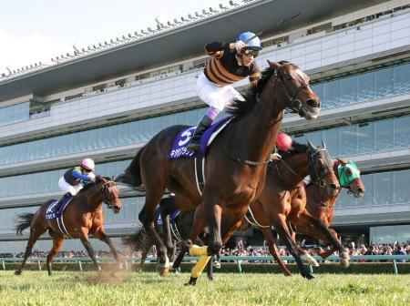 大阪杯でゴールする1着のキタサンブラック(手前)、2着のステファノス(手前から2頭目)、3着のヤマカツエース(奥)=阪神競馬場