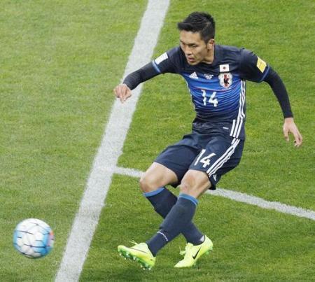サッカーW杯最終予選 日本―タイ 後半、3点目のゴールを決める久保=埼玉スタジアム
