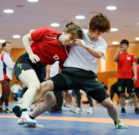 合同練習で、レスリング女子の吉田沙保里(左)と組み合う柔道女子の近藤亜美=味の素ナショナルトレーニングセンター