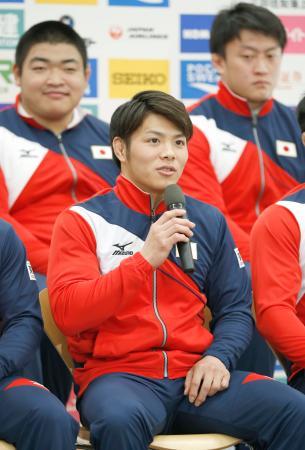 記者会見する世界柔道代表の阿部一二三=2日、東京都北区の味の素ナショナルトレーニングセンター