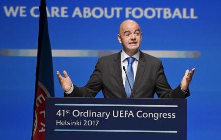 国際サッカー連盟(FIFA)のインファンティノ会長=4月、ヘルシンキ(AP=共同)