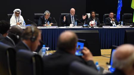 バーレーンのマナマで開かれた国際サッカー連盟(FIFA)の理事会=9日(ゲッティ=共同)