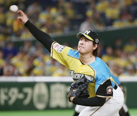 6回5失点で2勝目を挙げた日本ハム・有原=東京ドーム