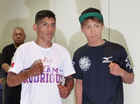 予備検診後、ポーズを取るWBOスーパーフライ級王者の井上尚弥(右)とリカルド・ロドリゲス=18日、東京・後楽園ホール