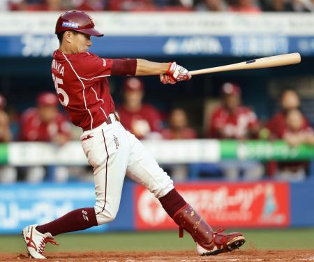 12回楽天2死一塁、田中がプロ初本塁打となる左越え2ランを放つ=ZOZOマリン