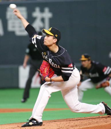 8回1失点で6勝目を挙げたソフトバンク・千賀=札幌ドーム