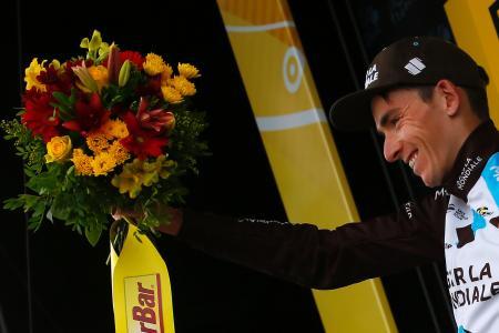 第12ステージを制したロマン・バルデ=13日、ペラギュード(AP=共同)