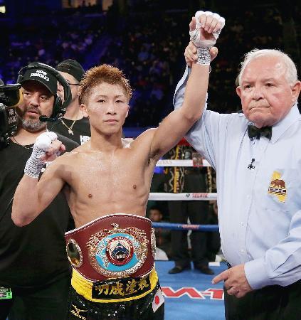 WBOスーパーフライ級タイトルマッチで6度目の防衛を果たした井上尚弥=カーソン(ゲッティ=共同)