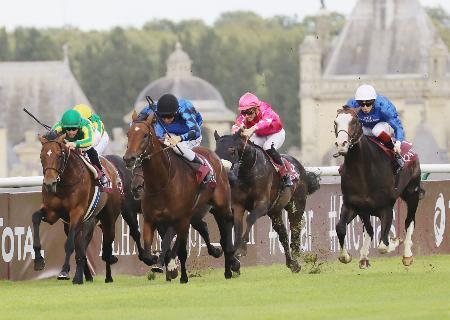 フランス競馬のフォワ賞で4着のサトノダイヤモンド(左端)=シャンティイ競馬場(共同)