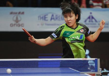 卓球アジア・カップの女子シングルス準決勝で敗れた平野美宇=16日、インド・アーメダバード(AP=共同)