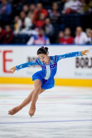 フィギュアスケートのジュニアGPベラルーシ大会、2位に入った荒木菜那のフリー=22日、ミンスク(ゲッティ=共同)