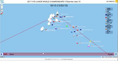 「スマホでヨットレース」の画面。艇の位置やチーム名などが一目で分かる(宮田毅志氏提供)