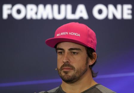 F1の米国GPに向けての記者会見に臨んだフェルナンド・アロンソ=19日、オースティン(ゲッティ=共同)