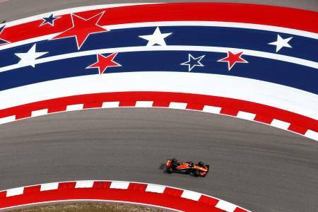 F1米国GPのフリー走行、マクラーレン・ホンダのストフェル・バンドーン=20日、オースティン(ゲッティ=共同)