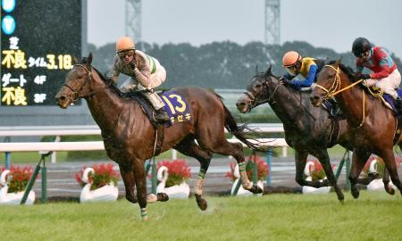 第78回菊花賞で優勝したキセキ(左)=京都競馬場