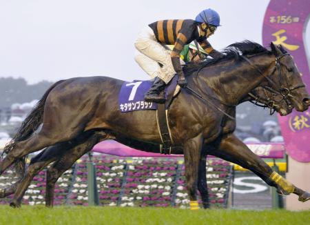 秋の天皇賞を制したキタサンブラック。奥は2着のサトノクラウン=東京競馬場