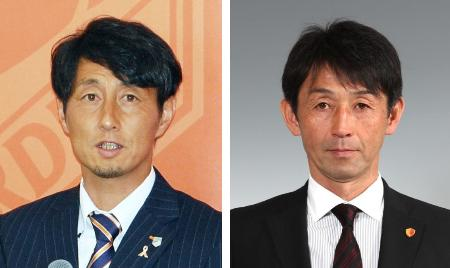 大宮の伊藤彰監督(左)、石井正忠氏