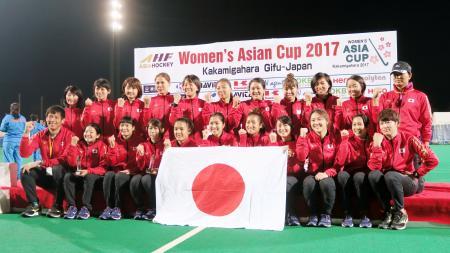 ホッケーの女子アジアカップで4位の日本チーム=川崎重工ホッケースタジアム