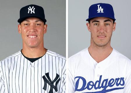 ヤンキースのジャッジ外野手(左)、ドジャースのベリンジャー内野手(いずれもゲッティ=共同)