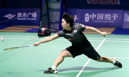 中国オープンの女子シングルスで優勝した山口茜=福州(バドミントンフォト提供・共同)