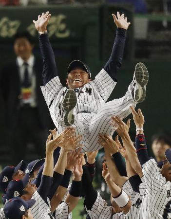 「アジアプロ野球チャンピオンシップ2017」で優勝を決め、胴上げされる日本代表の稲葉篤紀新監督=19日、東京ドーム