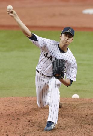 2014年11月、日米野球に登板した大谷=京セラドーム