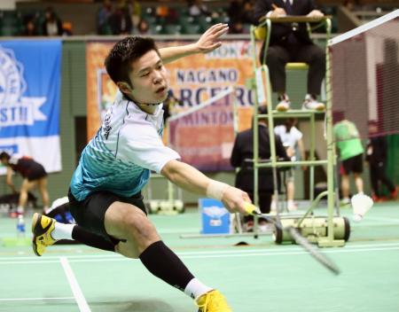 男子シングルスで本戦進出を決めた金子真大=駒沢体育館