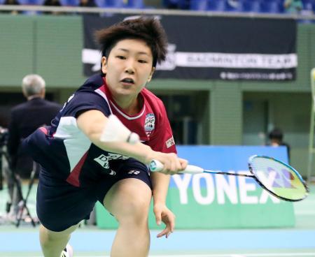 女子シングルスで準々決勝進出を決めた山口茜=駒沢体育館