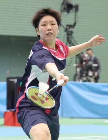 女子シングルスで決勝進出を決めた山口茜=駒沢体育館