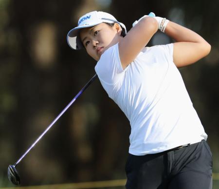 最終ラウンド、通算12アンダーで1位となった畑岡奈紗=LPGAインターナショナル(共同)