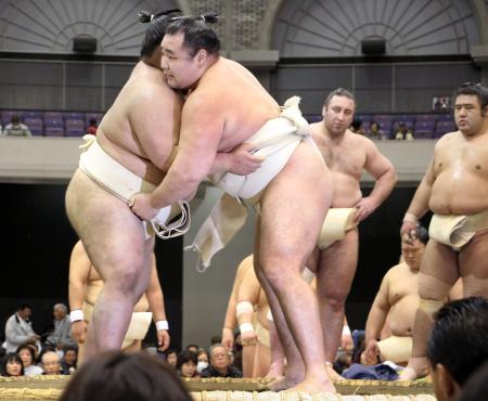 大相撲冬巡業で大奄美関(左)を相手に稽古する横綱鶴竜関=10日、鹿児島市