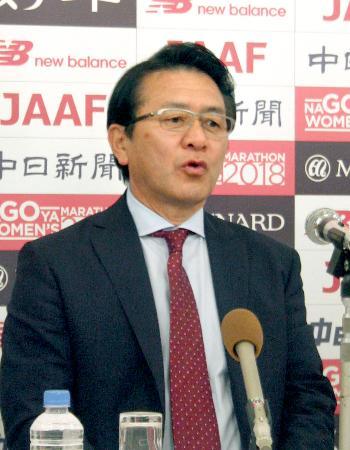名古屋ウィメンズマラソンについて記者会見する、日本陸連の瀬古利彦マラソン強化戦略プロジェクトリーダー=21日、名古屋市