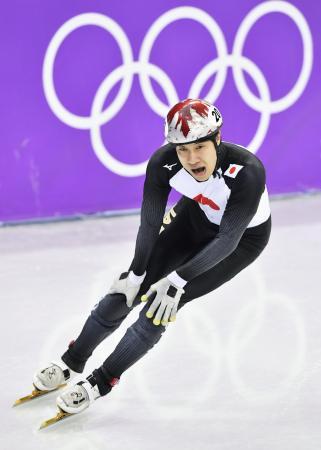 男子500メートル5~8位決定戦のレースを終えた坂爪亮介=江陵(共同)