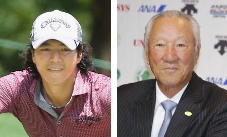 石川遼(左)、JGTOの青木功会長