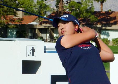 米女子ゴルフのメジャー初戦、ANAインスピレーションに向け調整する鈴木愛=ミッションヒルズCC(共同)