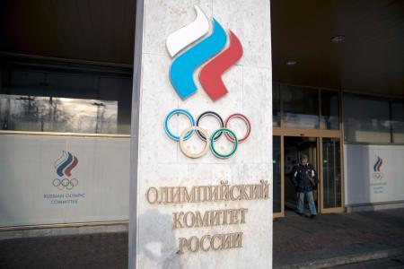 ロシア・オリンピック委員会のエントランス=2月、モスクワ(AP=共同)