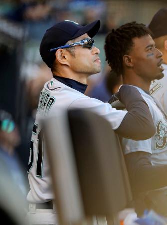 ホワイトソックス戦でベンチから試合を見守るマリナーズのイチロー=シカゴ(共同)