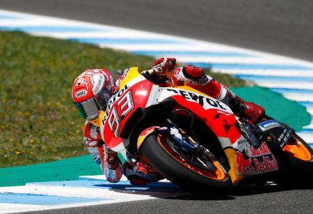 オートバイの世界選手権シリーズ第4戦、スペインGP。優勝したホンダのマルク・マルケス=6日、ヘレスデラフロンテラ(AP=共同)
