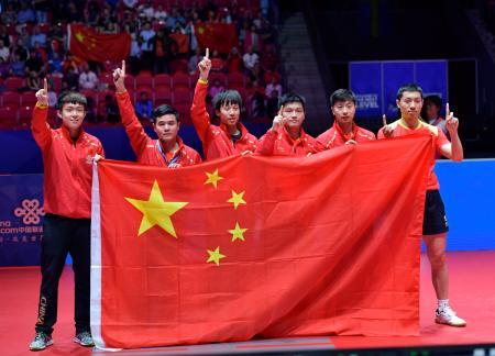 世界卓球団体戦で9連覇を達成した男子の中国=6日、ハルムスタード(AP=共同)