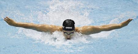 男子400メートル個人メドレー決勝 4分8秒98で優勝した瀬戸大也のバタフライ=東京辰巳国際水泳場