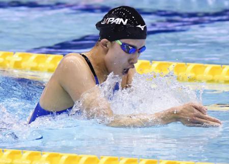 女子400メートル個人メドレー決勝 4分35秒03で優勝した大橋悠依の平泳ぎ=東京辰巳国際水泳場