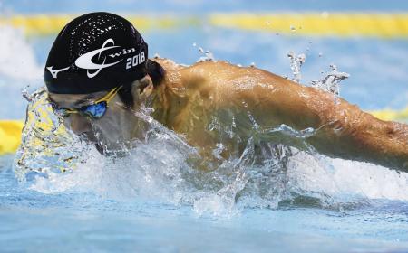 男子200メートルバタフライ決勝 1分54秒72で優勝した矢島優也=東京辰巳国際水泳場