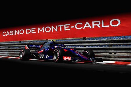 予選を走行するピエール・ガスリーのトロロッソ・ホンダ=26日、モンテカルロ(ゲッティ=共同)
