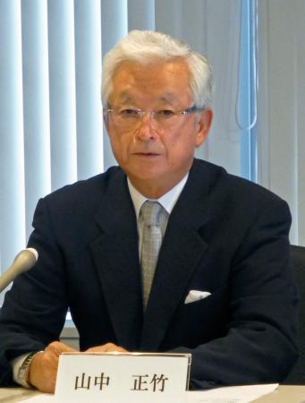 全日本野球協会新会長に就任し、抱負を語る山中正竹氏=29日、東京都中央区