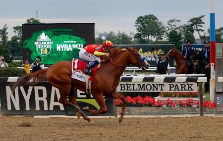 米競馬の第150回ベルモントステークスで優勝したマイク・スミス騎乗のジャスティファイ=9日、ニューヨーク州エルモント(AP=共同)