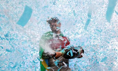 「フォーミュラE」第10戦で今季初優勝を飾ったルーカス・ディグラッシ=10日、チューリヒ(ロイター=共同)