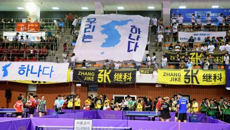 17日、卓球の韓国オープン予選で南北合同チームを応援する市民ら=韓国・大田(共同)